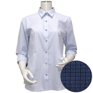 七分袖 形態安定 レディース ウィメンズシャツ レギュラー衿 白×ブルー、ピンク刺子風柄|shirt