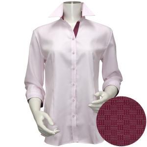 レディース ウィメンズシャツ 七分袖 形態安定 スキッパー衿 綿100% ピンク×織柄|shirt