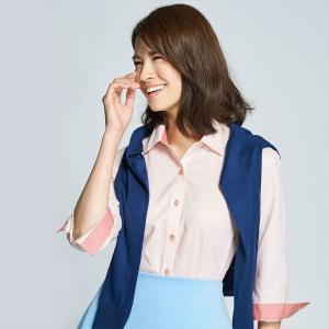レディース ウィメンズシャツ 七分袖 形態安定 レギュラー衿 白×オレンジチェック|shirt
