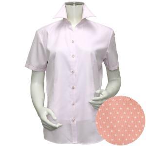 半袖 インナー付 形態安定 レディース ウィメンズシャツ スキッパー衿 ピンク×ダイヤチェック織柄|shirt