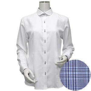 長袖 形態安定 レディース ウィメンズシャツ ラウンド衿 白×ストライプ織柄(透け防止)|shirt