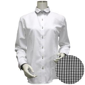 長袖 形態安定 レディース ウィメンズシャツ パイピング風 ワイド衿 白×ストライプ織柄(透け防止)|shirt
