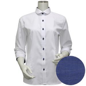 七分袖 形態安定 レディース ウィメンズシャツ ラウンド衿 白×チェック織柄(透け防止)|shirt