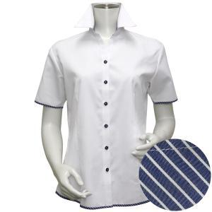 半袖 形態安定 レディース ウィメンズシャツ スキッパー衿 白×ストライプ織柄(透け防止)|shirt