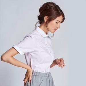 レディース ウィメンズシャツ 半袖 形態安定 クレリック ラウンド衿 白×ピンクチェック(透け防止)|shirt