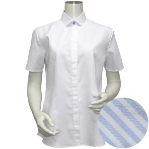 半袖 形態安定 レディース ウィメンズシャツ ワイド衿 白×織柄(透け防止)|shirt