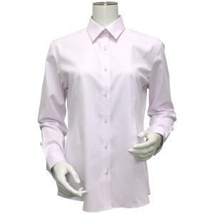 長袖 形態安定 レディース ウィメンズシャツ レギュラー衿 ピンク×ストライプ織柄(透け防止)|shirt