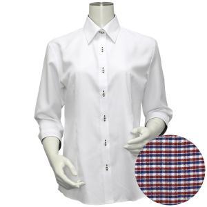七分袖 形態安定 レディース ウィメンズシャツ レギュラー衿 白×ヘリンボーン織柄(透け防止)|shirt