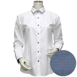長袖 形態安定 レディース ウィメンズシャツ パイピング風 ワイド衿 白×ダイヤチェック織柄(透け防止)|shirt