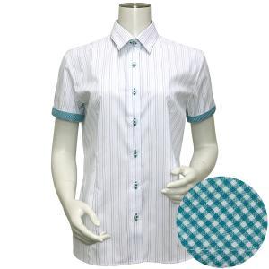半袖 形態安定 レディース ウィメンズシャツ レギュラー衿 白×グリーン系マルチストライプ(透け防止)|shirt