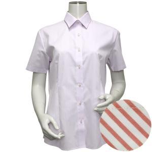 半袖 形態安定 レディース ウィメンズシャツ レギュラー衿 パープル×斜めストライプ織柄(透け防止)|shirt