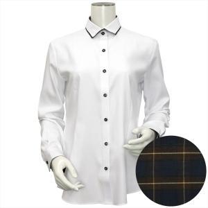レディース ウィメンズシャツ 長袖 形態安定 パイピング風 ワイド衿 白×織柄|shirt