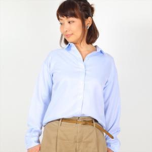 レディース ウィメンズシャツ 長袖 形態安定 ゆったりシャツ レギュラー衿 サックス×無地調|shirt