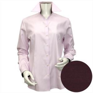 レディース ウィメンズシャツ 長袖 形態安定 スキッパー衿 ピンク×ダイヤチェック織柄|shirt