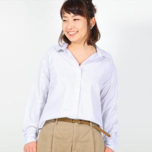 レディース ウィメンズシャツ 長袖 形態安定 ゆったりシャツ レギュラー衿 白×グレーストライプ|shirt