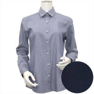 レディース ウィメンズシャツ 長袖 形態安定 レギュラー衿 ネイビー×白ストライプ|shirt