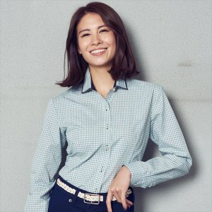 レディース ウィメンズシャツ 長袖 形態安定 パイピング風 ワイド衿 白×グリーンチェック|shirt