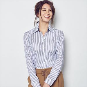 レディース ウィメンズシャツ 長袖 形態安定 スキッパー衿 白×ネイビー、パープルストライプ|shirt