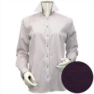 レディース ウィメンズシャツ 長袖 形態安定 スキッパー衿 白×ブラウン、ベージュストライプ|shirt