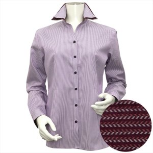 レディース ウィメンズシャツ 長袖 形態安定 スキッパー ダブル衿 綿100% 白×パープルストライプ shirt