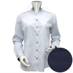 レディース ウィメンズシャツ 長袖 形態安定 スキッパー衿 綿100% サックス×ダイヤチェック織柄 shirt