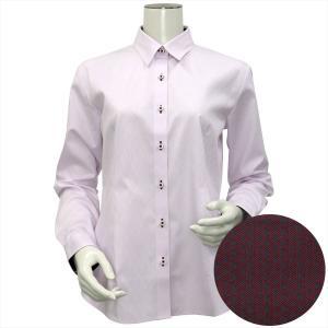 レディース ウィメンズシャツ 長袖 形態安定 レギュラー衿 綿100% ピンク×ダイヤチェック織柄 shirt