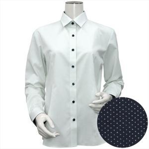 レディース ウィメンズシャツ 長袖 形態安定 レギュラー衿 白×グリーンボーダーストライプ、斜めストライプ織柄|shirt