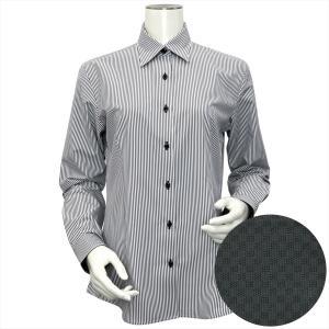 レディース ウィメンズシャツ 長袖 形態安定 レギュラー衿 白×グレーストライプ|shirt