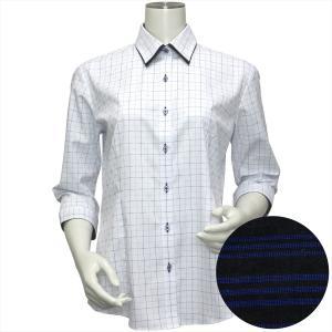 レディース ウィメンズシャツ 七分袖 形態安定 レギュラー ダブル衿 白×サックス、ブルーチェック(透け防止)|shirt