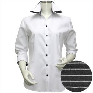 レディース ウィメンズシャツ 七分袖 形態安定 スキッパー ダブル衿 白×ストライプ織柄(透け防止)|shirt