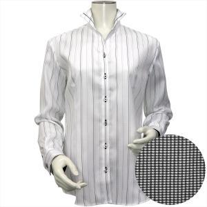 レディース ウィメンズシャツ 長袖 形態安定 パイピング風 マイター スタンド スキッパー衿 綿100% 白×黒、グレーストライプ shirt