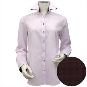 レディース ウィメンズシャツ 長袖 形態安定 パイピング風 マイター スキッパー衿 ピンク×ダイヤチェック織柄|shirt