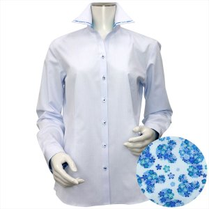 Disney ディズニー / レディース ウィメンズシャツ 長袖 形態安定 パイピング風 マイター スキッパー衿 サックス×ドット織柄|shirt