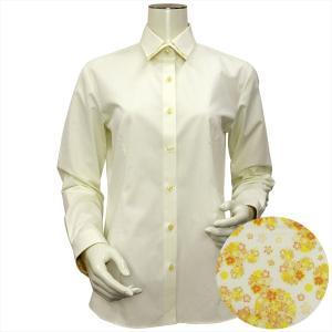 Disney ディズニー / レディース ウィメンズシャツ 長袖 形態安定 パイピング風 マイター レギュラー衿 クリームイエロー×ドット織柄|shirt