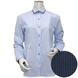 レディース ウィメンズシャツ 長袖 形態安定 パイピング風 ワイド衿 サックス×市松格子織柄 shirt