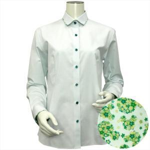 Disney ディズニー / レディース ウィメンズシャツ 長袖 形態安定 パイピング風 ワイド衿 グリーン×ドット織柄|shirt