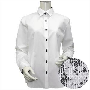 Disney ディズニー / レディース ウィメンズシャツ 長袖 形態安定 レギュラー衿 白×ストライプ、ミッキーモチーフ織柄|shirt