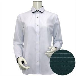 レディース ウィメンズシャツ 長袖 形態安定 ワイド ダブル衿 白×サックスグリーン、ライトグレー刺子調柄|shirt