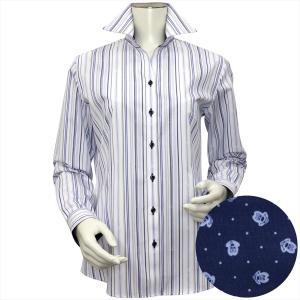 Disney ディズニー / レディース ウィメンズシャツ 長袖 形態安定 スキッパー衿 白×ブルー系マルチストライプ、ミッキーシェイプ織柄|shirt