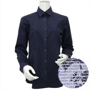 Disney ディズニー / レディース ウィメンズシャツ 長袖 形態安定 レギュラー衿 ネイビー×ストライプ、ミッキーモチーフ織柄|shirt