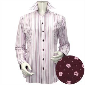 Disney ディズニー / レディース ウィメンズシャツ 長袖 形態安定 スキッパー衿 白×ピンク・エンジ系マルチストライプ、ミッキーシェイプ織柄|shirt