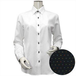 レディース ウィメンズシャツ 長袖 形態安定 レギュラー衿 白×織柄(透け防止)|shirt