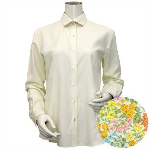 レディース ウィメンズシャツ 長袖 形態安定 マイター ワイド衿 クリームイエロー×ドット織柄(透け防止)|shirt