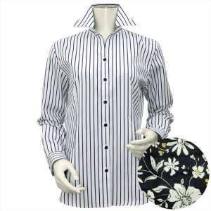 レディース ウィメンズシャツ 長袖 形態安定 スキッパー衿 白×ネイビーストライプ(透け防止)|shirt