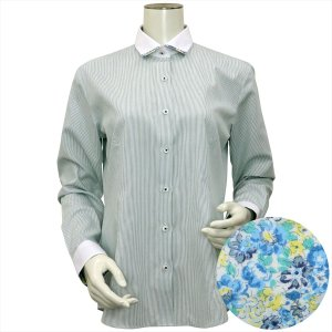 レディース ウィメンズシャツ 長袖 形態安定 クレリック マイター ワイド衿 白×グリーンストライプ(透け防止)|shirt