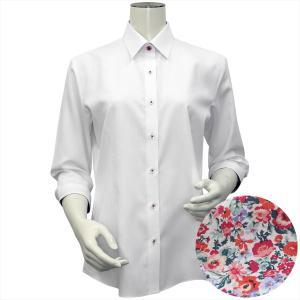 レディース ウィメンズシャツ 七分袖 形態安定 レギュラー衿 白×ストライプ織柄 (透け防止)|shirt