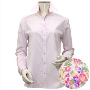 レディース ウィメンズシャツ 長袖 形態安定 スキッパー衿 ピンク×ストライプ織柄(透け防止)|shirt