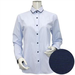レディース ウィメンズシャツ 長袖 形態安定 パイピング風 ワイド衿 白×サックスチェック(透け防止) shirt