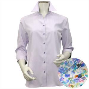 レディース ウィメンズシャツ 七分袖 形態安定 スキッパー衿 パープル×ストライプ織柄 (透け防止)|shirt