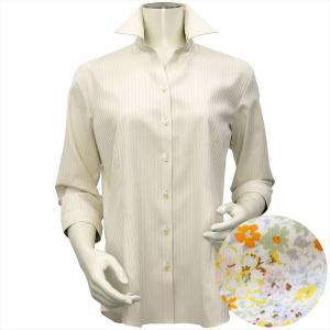 レディース ウィメンズシャツ 七分袖 形態安定 スキッパー衿 クリームイエロー×ストライプ織柄 (透け防止)|shirt